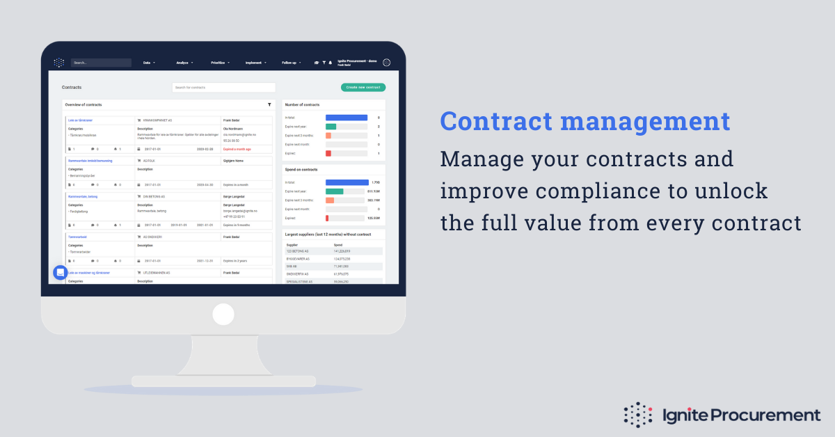 A spend management solution with contract management integrated